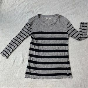 Madewell Gray and Black Stripped Tee Size XS